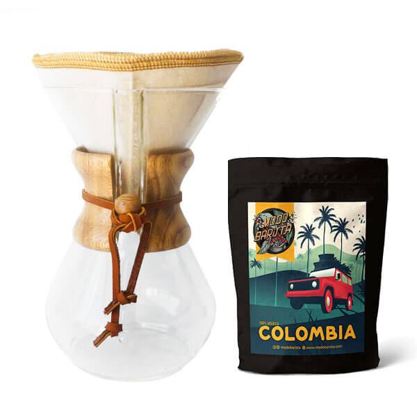 Chemex+%2B+filtro+tela+%2B+Caf%C3%A9+Colombia
